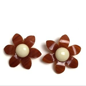 PRICE FINAL 60s Big Daisy Lucite Earrings